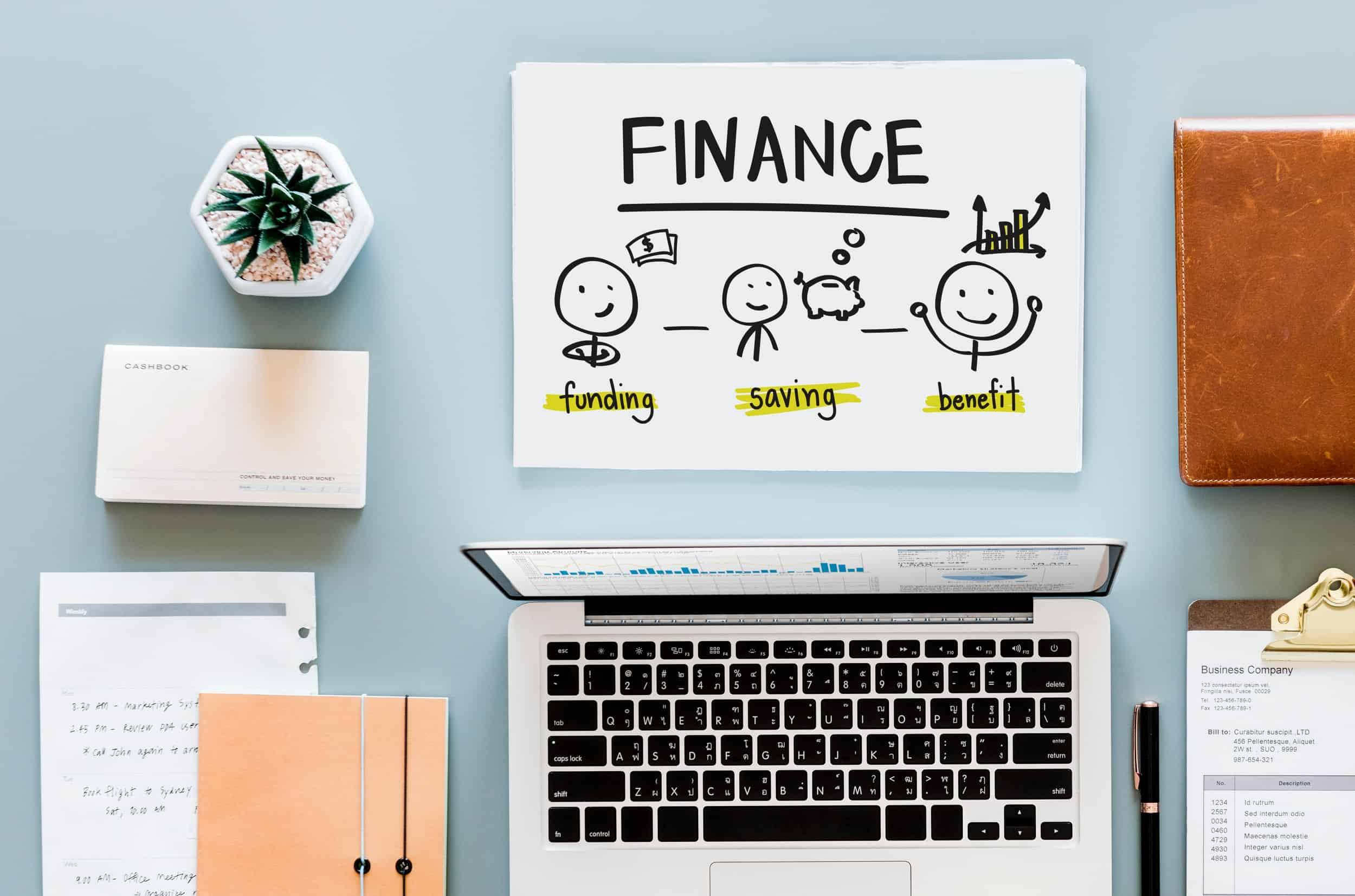 Computer met financiële berekening